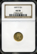 "Gold Dollars: , 1870-S G$1 AU58 NGC. The current Coin Dealer Newsletter (Greysheet)wholesale ""bid"" price is $1300.00...."