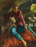 Fine Art - Painting, American:Contemporary   (1950 to present)  , JOSEPH HIRSCH (American 1910-1981). Untitled, Woman with adog. Oil on canvas laid on cardboard. 17-3/4 x 14 inches(45....