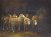 ALFRED MONTGOMERY (American 1857-1922) Sheep in a Stable Oil on canvas 27-1/2 x 37-1/2 inches (69
