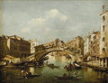 Fine Art - Painting, European:Antique  (Pre 1900), Circle of FRANCESCO GUARDI (Italian 1712- c.1793). Venice, aview of the Grand Canal and the Rialto Bridge. Oil on canva...