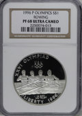 Modern Issues: , 1996-P $1 Olympic/Rowing Silver Dollar PR68 Deep Cameo NGC. NGCCensus: (1/4). PCGS Population (76/606). Numismedia Wsl. P...