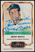 Autographs:Sports Cards, Signed Mickey Mantle Casino Hotel Card. ...