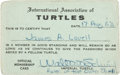 Explorers:Space Exploration, Jim Lovell's Original International Association of TurtlesMembership Card, Signed by Wally Schirra, Directly from HisPersona...