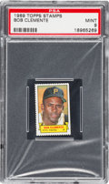 Baseball Cards:Singles (1960-1969), 1969 Topps Stamps Roberto Clemente PSA Mint 9 - Pop Three, NoneHigher. ...
