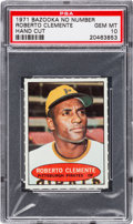 Baseball Cards:Singles (1970-Now), 1971 Bazooka Roberto Clemente (No Number) PSA Gem MT 10 - PopThree. ...