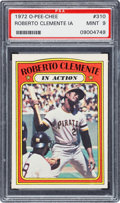 Baseball Cards:Singles (1970-Now), 1972 O-Pee-Chee Roberto Clemente In Action #310 PSA Mint 9 - PopSix, One Higher. ...