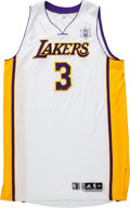 """Basketball Collectibles:Uniforms, 2010-11 Devin Ebanks Game Issued Los Angeles Lakers """"Snowflake""""Jersey. ..."""