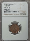 Medals and Tokens, 1863 B. Maloney Token, New York, NY, F-630AU1a, MS64 Brown NGC. ...