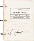 Explorers:Space Exploration, Apollo 13 Flown and Crew-Signed NASA CSM Launch ChecklistBook Directly from the Personal Collection of the Book's...