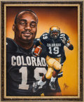 Autographs:Bats, 1994 Rashaan Salaam Heisman Trophy Winner Original Artwork by TedWatts....