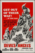 "Movie Posters:Exploitation, Devil's Angels (American International, 1967). One Sheet (27"" X41""). Exploitation.. ..."