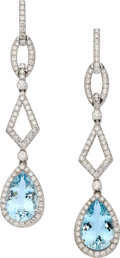Estate Jewelry:Earrings, Aquamarine, Diamond, White Gold Earrings, Eli Frei. . ... (Total: 2Items)