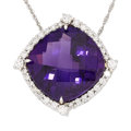 Estate Jewelry:Pendants and Lockets, Amethyst, Diamond, White Gold Pendant-Necklace. . ...