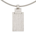 Estate Jewelry:Pendants and Lockets, Diamond, White Gold Pendant-Necklace. . ...