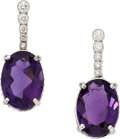 Estate Jewelry:Earrings, Amethyst, Diamond, White Gold Earrings. . ... (Total: 2 Items)