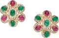 Estate Jewelry:Earrings, Ruby, Emerald, Diamond, Gold Earrings. ... (Total: 2 Items)