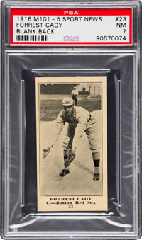 1916 M101-5 Blank Back (Sporting News) Forrest Cady (With Number) #23 PSA NM 7 - Pop One, None Higher!