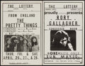 "Movie Posters:Rock and Roll, The Pretty Things at The Lottery & Other Lot (Aurora Hotel,1973). Concert Window Cards (2) (11"" X 17""). Rock and Roll.. ...(Total: 2 Items)"