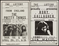 """The Pretty Things at The Lottery & Other Lot (Aurora Hotel, 1973). Concert Window Cards (2) (11"""" X 17""""..."""