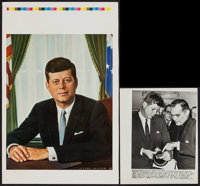 """John F. Kennedy by Victor Lallier & Other Lot (1960s). Printer's Proof Poster (12.5"""" X 19"""") &..."""