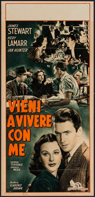 "Come Live with Me (MGM, 1948). First Post-War Release Italian Locandina (13"" X 27""). Comedy"