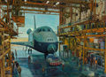 Fine Art - Painting, American:Contemporary   (1950 to present)  , Mort Künstler (American, b. 1931). First Rollout of theEnterprise, September 17, 1976, Palmdale, California, 1980. Oil...