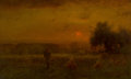 Fine Art - Painting, American:Antique  (Pre 1900), George Inness (American, 1825-1894). Evening Glow, 1883. Oilon canvas. 22 x 36 inches (55.9 x 91.4 cm). Signed and date...