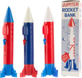 "Explorers:Space Exploration, ""Jupiter Rocket"" Action Coin Banks (Three) by Superior Toys, Onewith Original Box...."