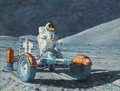 "Explorers:Space Exploration, Alan Bean Original 1984 Painting ""Test Drive,"" Acrylic on Masonite, Museum Framed...."