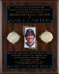Baseball Collectibles:Others, 1989 Gary Carter Leukemia Society Humanitarian Award PresentationalPlaque from The Gary Carter Collection....