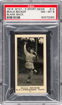 1916 M101-5 Blank Back (Sporting News) Beals Becker #12 PSA NM-MT 8 - Pop Two, None Higher!