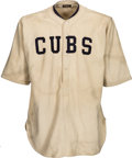 Baseball Collectibles:Uniforms, 1921-22 Percy Jones Game Worn Chicago Cubs Jersey....