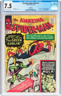 Silver Age (1956-1969):Superhero, The Amazing Spider-Man #14 UK Edition (Marvel, 1964) CGC VF- 7.5 Off-white to white pages....
