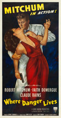 "Movie Posters:Film Noir, Where Danger Lives (RKO, 1950). Three Sheet (41"" X 80"").. ..."
