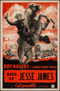 "Movie Posters:Western, Days of Jesse James (Republic, 1939). One Sheet (27"" X 41""). Western.. ..."