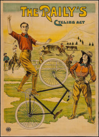 """The Raily's Cycling Act Belgian Advertising Poster (Affiches Marci Bruxelles, 1890). Belgian Poster (32.25"""" X 45&qu..."""