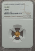California Fractional Gold , Undated 25C Liberty Round 25 Cents, BG-221, R.3, MS63 NGC. NGCCensus: (15/7). PCGS Population: (57/46). ...