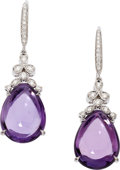 Estate Jewelry:Earrings, Amethyst, Diamond, White Gold Earrings, Eli Frei. . ... (Total: 2Items)