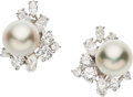 Estate Jewelry:Earrings, Cultured Pearl, Diamond, White Gold Earrings. . ... (Total: 2Items)