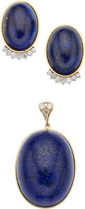 Estate Jewelry:Suites, Lapis Lazuli, Diamond, Gold Jewelry Suite. . ... (Total: 3 Items)