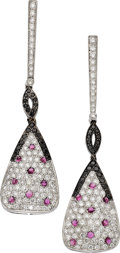 Estate Jewelry:Earrings, Colored Diamond, Diamond, Ruby, Gold Earrings, Eli Frei. ...(Total: 2 Items)