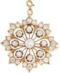 Estate Jewelry:Pendants and Lockets, Diamond, Gold Pendant-Brooch. . ...