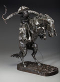Sculpture, Frederic Remington (American, 1861-1909). The Broncho Buster #17, cast circa 1902. Bronze with dark brown patina. 23-1/8... (Total: 2 Items)