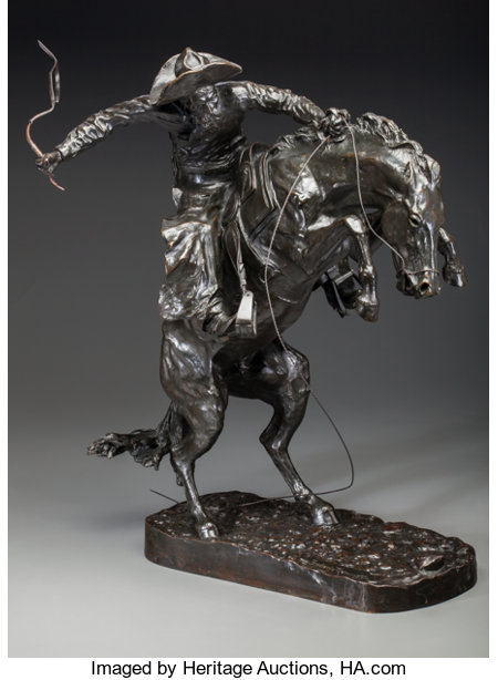 Frederic Remington (American, 1861-1909)The Broncho Buster #17, cast circa 1902Bronze with dark brown patina23-1/8... (Total: 2 Items)