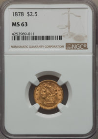 1878 $2 1/2 MS63 NGC. NGC Census: (287/179). PCGS Population: (299/205). CDN: $575 Whsle. Bid for problem-free NGC/PCGS...
