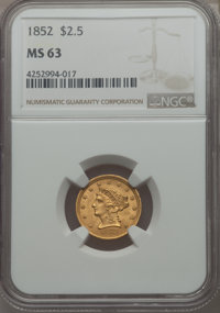 1852 $2 1/2 MS63 NGC. NGC Census: (79/62). PCGS Population: (89/61). CDN: $1,000 Whsle. Bid for problem-free NGC/PCGS MS...