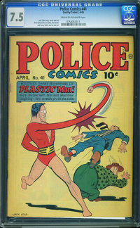 Police Comics #41 - JAMIE GRAHAM/GRAHAM CRACKERS COMICS COLLECTION (Quality, 1945) CGC VF- 7.5 Cream to off-white pages...