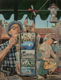 Fine Art - Painting, American:Contemporary   (1950 to present)  , Stevan Dohanos (American, 1907-1994). The Vacationers, SaturdayEvening Post cover, August 25, 1951. Oil on Masonite. 46...