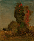 Paintings, George Inness (American, 1825-1894). Autumn Trees, circa 1879-80. Oil on canvas laid on board. 10-1/4 x 8-1/2 inches (26...