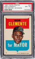 Baseball Cards:Singles (1960-1969), 1967 Topps Stickers Roberto Clemente (For Mayor) #27 PSA NM-MT 8. ...